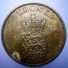 7.521 DANEMARCA FREDERIK IX 2 KRONER 1952, Europa, Bronz-Aluminiu