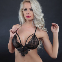 Lenjerie Lady Lust Sexy Black Dantela Print Bikini Tanga + Sutien Set 2 Piese, L, M, Negru