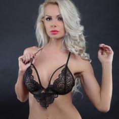 Lenjerie Lady Lust Sexy Black Dantela Print Bikini Tanga + Sutien Set 2 Piese - Lenjerie sexy dama, Culoare: Negru, Marime: S, M, L, XL