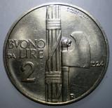 A.256 ITALIA VITTORIO EMANUELE III 2 LIRE 1924 XF/AUNC 29mm, Europa, Nichel