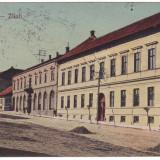 #1907- Romania, Zalau, Zilah c.p. circulata 1920: Scoala de fete, strada, animat, Fotografie