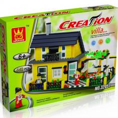 JOC DE CONSTRUCTIE DIN PIESE TIP LEGO COMPATIBILE 100%, LEGO VILLAS, 449 PIESE. - Set de constructie, Unisex