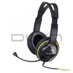 Casti cu microfon Genius HS-400A Green, Control volum, Headband, ROHS - Casca PC