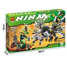 JOC CONSTRUCTIE URIAS DIN PIESE TIP LEGO,COMPATIBILE 100%,DRAGONUL NINJA,911pcs.