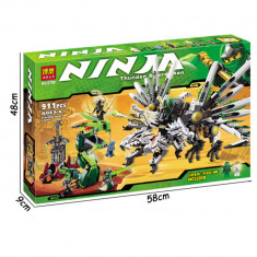 JOC CONSTRUCTIE URIAS DIN PIESE TIP LEGO, COMPATIBILE 100%, DRAGONUL NINJA, 911pcs. - Set de constructie, Unisex