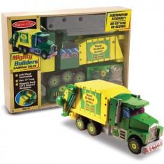Masina de gunoi - Melissa & Doug - Set constructie din lemn - Masinuta