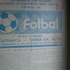 Chimia Rm. Valcea - Politehnica Iasi (2 octombrie 1982) - Program meci