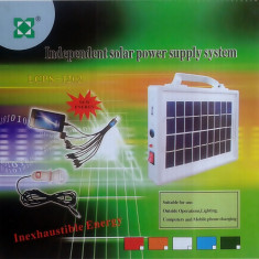 Incarcator solar universal cu 10 mufe telefon si bec inclus LCPS1202 - Baterie externa