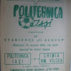 Politehnica Iasi - Chimia Rm. Valcea (26 martie 1980) - Program meci
