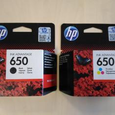 PACHET de Cartuse negru color HP650 noi sigilate originale black imprimanta, Original, HP