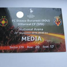 Steaua Bucuresti - Villarreal (29 septembrie 2016) / acreditare media - Program meci