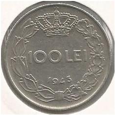 ROMANIA MIHAI I - 100 LEI 1943 [4] livrare in cartonas - Moneda Romania, Fier