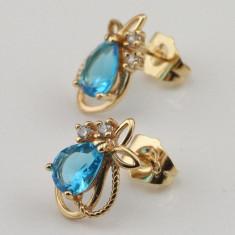 Cercei placati/ filati cu aur 14k gold filled piatra safir turcoaz bleu albastru - Cercei placati cu aur pandora