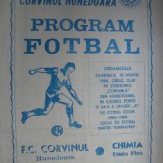 Corvinul Hunedoara - Chimia Rm. Valcea (18 martie 1984) - Program meci