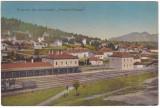 #1922- Romania, Predeal c.p. circulata 1923: Gara, tren, animat, Panorama
