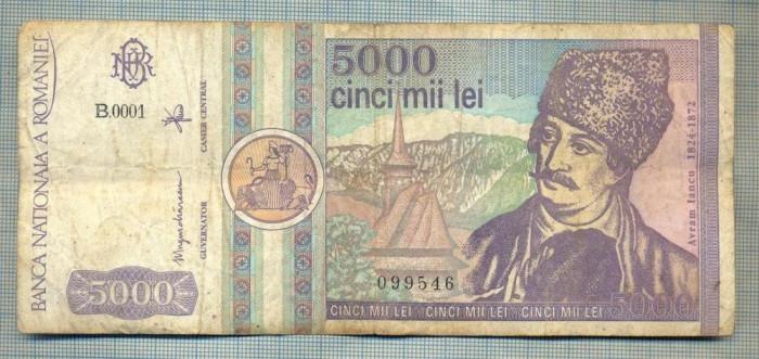A1497 BANCNOTA-ROMANIA- 5000 LEI-1992-SERIA 0001-AVRAM IANCU-starea care se vede