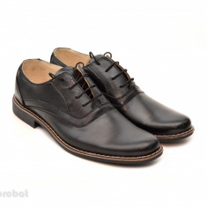 Pantofi barbati piele naturala negri casual-eleganti cu siret cod P22, Marime: 37, 38, 39, 40, 41, 42, 43, 44, 45, Culoare: Negru
