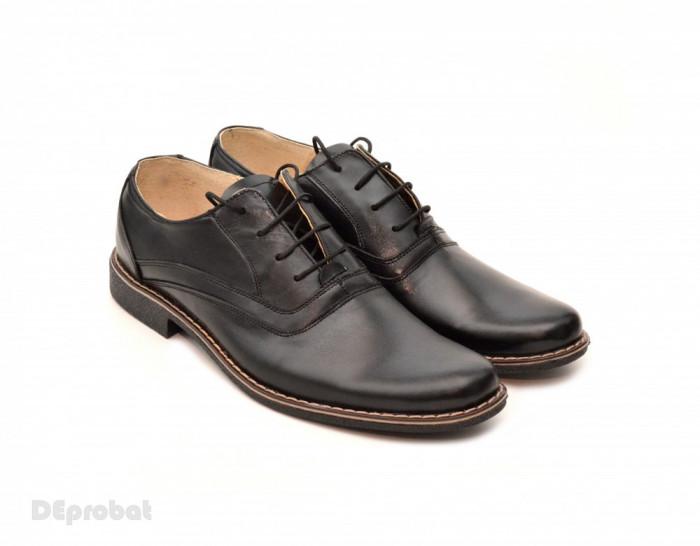 Pantofi barbati piele naturala negri casual-eleganti cu siret cod P22 foto mare