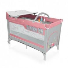 Patut pliabil cu 2 nivele Dream 08 pink 2016 - Patut pliant bebelusi Baby Design