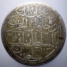 E.282 TURCIA MAHMUD I 1 KURUSH 1143/1730+ ARGINT 23, 6g - Moneda Medievala, Europa