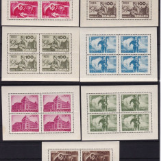 ROMANIA 1945, LP 174 a, MUNCA PTT BLOC DE 4 MNH - Timbre Romania, Nestampilat