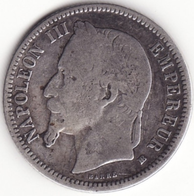 Imperiul Francez - 1 Franc 1868 - BB - Argint foto