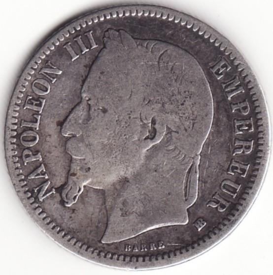 Imperiul Francez - 1 Franc 1868 - BB - Argint