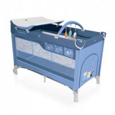 Patut Pliabil Cu 2 Nivele Dream 03 Blue 2016 - Patut pliant bebelusi Baby Design, 120x60cm, Albastru