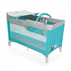 Patut Pliabil Cu 2 Nivele Dream 05 Turquoise 2016 - Patut pliant bebelusi Baby Design, 120x60cm, Albastru