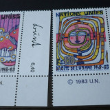 NATIUNILE UNITE GENEVA 1983 – DREPTURILE OMULUI, serie nestampilata UN43 - Timbre straine