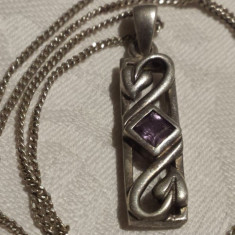 Medalion argint Ametist mov art nouveau Franta 1900 Finut Superb pe Lant argint
