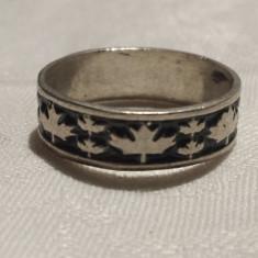 Inel argint Frunze de Artar cu email vechi Vintage de Efect executat manual