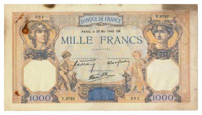 FRANTA 1000 FRANCS FRANCI CERES ET MERCURE 30-05-1940 U foto