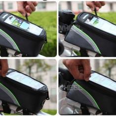 Borseta bicicleta Roswheel cu husa telefon impermeabila, iesire casti, M / VERDE, Borsete bicicleta
