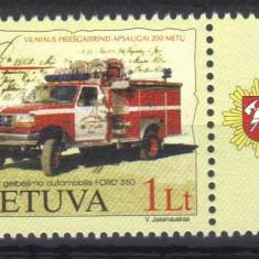 LITUANIA 2002, Masina de pompieri Ford 350, MNH, serie neuzata - Timbre straine, Nestampilat