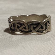 Inel argint CELTIC vechi tip verigheta executat manual Vintage de Efect