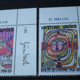 NATIUNILE UNITE GENEVA 1983 – DREPTURILE OMULUI, serie nestampilata UN42 - Timbre straine
