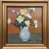 DAN HATMANU - artist, pictor iesean - Vas cu garoafe - ulei / carton - Pictor roman, Flori, Realism