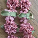 Set 10 garoafe din panglica de saten - rose vieux/ roz fanat