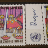 NATIUNILE UNITE GENEVA 1983 – DREPTURILE OMULUI, serie nestampilata UN35 - Timbre straine