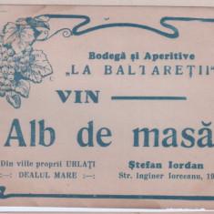 Eticheta veche-Reclama-perioada regalista-Vin Alb de Masa,Bodega-La Baltaretii