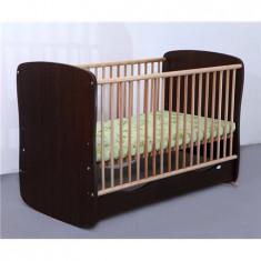 Patut Copii Lemn Sertar Serena Cu Leg Wenge 3614 - Patut lemn pentru bebelusi MyKids, 120x60cm, Maro