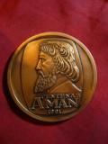 Placheta - 100 Ani Th. Aman , bronz ,d= 6,3 cm , Romania