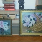 2 Tablouri vechi - Vas cu flori si Cos cu Flori - Tablou autor neidentificat, Ulei, Altul