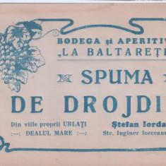 Eticheta veche-Reclama-perioada regalista-Spuma de Drojdie,Bodega-La Baltaretii