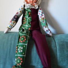 Jucarie veche Clovn, claun, arlechin, bufon, circ, vintage, deosebit, 63 cm - Papusa