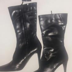 Cizme NOI negre, ZARA din piele - Cizma dama Zara, Culoare: Negru, Marime: 40, Piele naturala