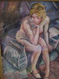 Nud pe ganduri, tablou in ulei pe panza semnat Klauss T Orval, Impresionism
