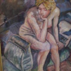 Nud pe ganduri, tablou in ulei pe panza semnat Klauss T Orval