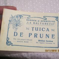 Eticheta veche-Reclama-perioada regalista-Tuica de Prune, Bodega-La Baltaretii